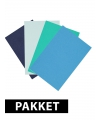 Voordeelpakket A4 karton blauw tinten 4x
