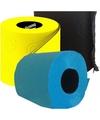 Gekleurd toiletpapier blauw, geel en zwart