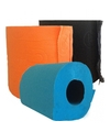 Gekleurd toiletpapier turqoise, oranje en zwart
