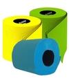 Gekleurd toiletpapier turqoise, groen en geel