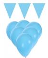 Decoratie licht blauw 15 ballonnen met 2 vlaggenlijnen
